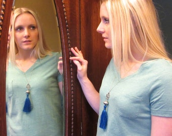 Blue Tassel Necklace with Cross