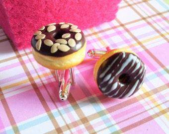 Chocolate Covered Donut Cufflinks - Miniature Food Art Jewelry - Schickie Mickie Original 100% handmade