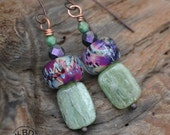 Colorful Lampwork, Green Kyanite and Czech Glass