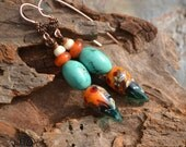 Sky on Fire, Lampwork and Turquoise Earrings