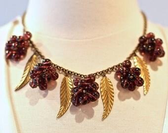 Vintage 1940s Grape Cluster and Leaf Necklace ~ Vintage 40s Gold Chain Grapes Necklace