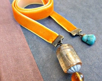 Bookmark, Orange Velvet Ribbon with Blown Glass and Stone Accents: Liquid Sun