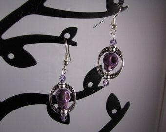Goth or Steampunk Purple Howlite skully w/ silver cameo frame and lilac Swarovski crystals.