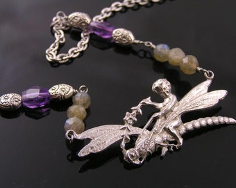 Angel Necklace, Dragonfly Necklace with Labradorite and Amethyst, Dragonfly Jewelry, Spiritual Necklace, Gem Necklace, Cute Jewelry, N1619