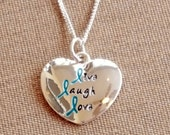 Teal Ribbon Live Laugh Love Charm Necklace - Ovarian Cancer Awareness