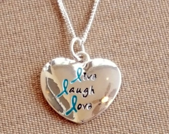 Teal Ribbon Live Laugh Love Charm Necklace - Ovarian Cancer Awareness - Cancer Support - Cancer Ribbon - Cancer Gift