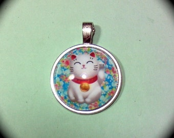 Domed Cute Kitty Pendant DIY Craft supply, necklace bracelet key ring boho hippie, cottage chic retro