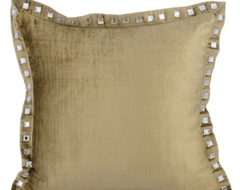 Sage Green Couch Cushion Covers 16 x 16 Pillow Covers Velvet Crystal Embroidered Decorative Pillows - Sage Green Crystal Palace