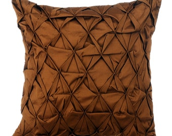 Brown Decorative Throw Pillow Cover, Sofa Pillow Cases 16x16 Couch Pillows Brown Taffeta Texture Pillow Cover, That Wood Be Lovely