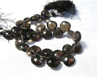 Summer Sale Fine Natural Smokey Quartz Briolette Beads, 10mm Briolette Beads