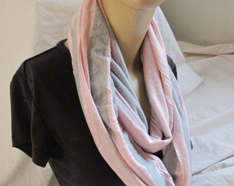 Pink and Grey Stripe Jersey Cowl/Circle Scarf/Infinity Scarf (5364)