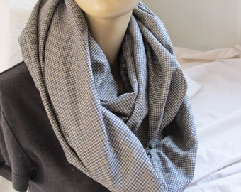 SALE - Brown Houndstooth Wool Cowl/Circle Scarf/Infinity Scarf (5370)