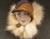 Vintage Lady Face Pin Brooch Woman Head PORCELAIN Flapper with mink and silk hat