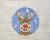 Red Nose Reindeer in Snow Handpainted Needlepoint Canvas Christmas Ornament