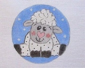 Darling Baby Lamb Sheep Handpainted Needlepoint Canvas Ornament