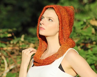 Orange and Rust Hooded Infinty Scarf Mobius Skood Cowl Great Gift for Men or Women