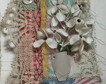 textile brooch, fiber art brooch, hand embroidery, vase vintage millinery flowers,  original, ooak