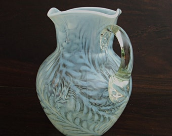 Antique Glass Pitcher, White Opalescent Fern, Beaumont American glassware, Lg water or lemonade server, blown mold