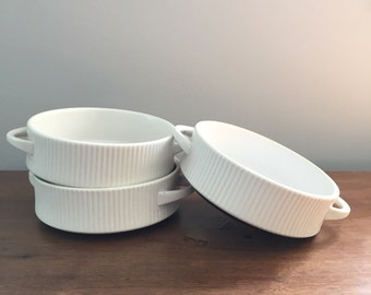 Set of 3 Thomas Germany Flammfest small handled white and brown ribbed casserole dishes ramekins serving dishes