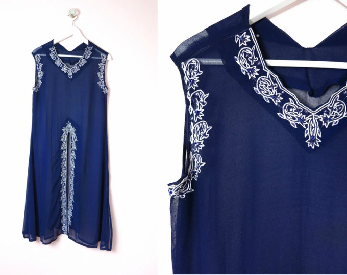 Sheer Navy Coverup with Beads & Embroidery L