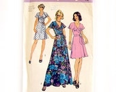 1970s Vintage Sewing Pattern - Simplicity 6099 - Front Wrap Maxi Dress with Flutter Neckline and Sleeves / Size 12 UNCUT FF