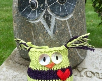 Tucker the Lime Green and Purple Striped  Owl Hand-knit