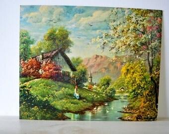 1960s vintage art / Italian View / Winde Fine Prints /  NO. 206 / Church, Mountain, Cottage, Duck Scene
