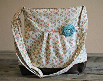 Handbag, Crossbody Purse, Messenger Bag, Medium Faux Leather Bag, Arrow Purse, Coral and Aqua, Triangles, Vegan Leather, Pleated Purse