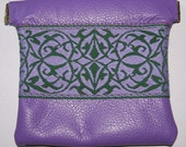 Purple/Lavender LEATHER Embroidered Trim Coin Pouch