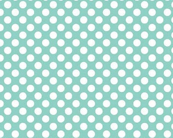 Riley Blake Matryoshka Russian Doll Fabric Aqua Polka Dot