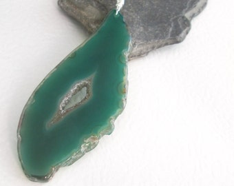 Green Geode Necklace, Druzy Agate Jewelry, Made in Canada