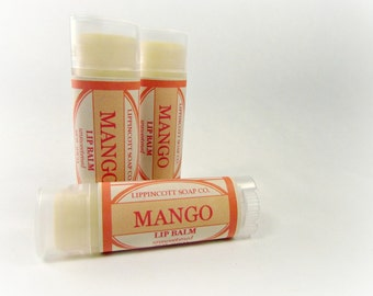 Mango Lip Balm - Unsweetened Lip Balm - Tropical Lip Balm - Beeswax, lanolin, shea butter, cocoa butter, jojoba oil, castor oil, vitamin E
