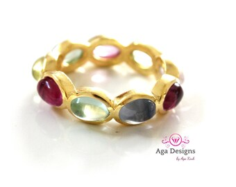 Stone Stacking Rings, stackable rings in Vermail, Semi-precious stones - SALE