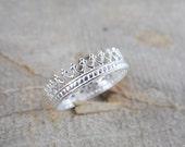 Crown Ring Sterling Silver Princess Ring