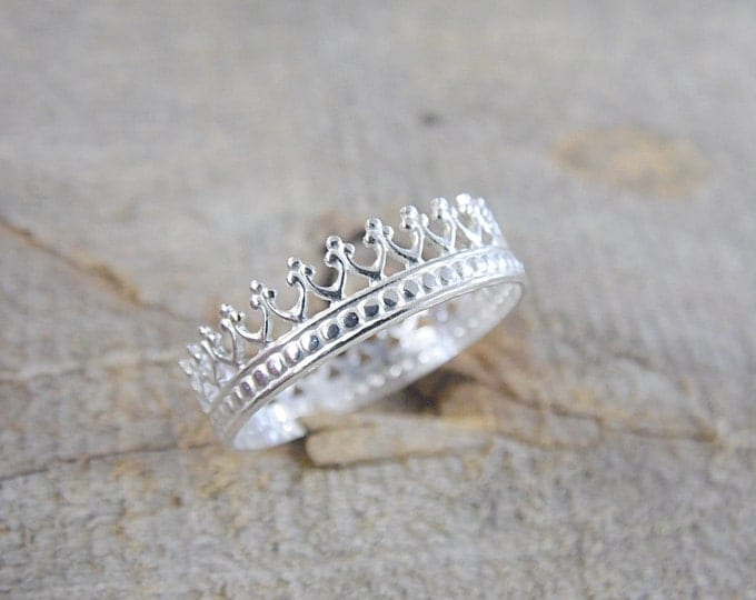 Crown Ring Sterling Silver Princess Ring