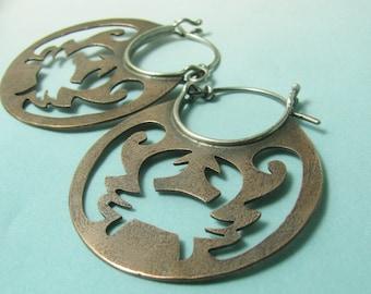 Astrology Cancer Symbol Earrings, Crab Earrings, Mixed Metal Hoop Earrings, Cancer Sign Earrings, Metalsmith Earrings, Astrology Jewelry