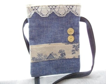 Crossbody Purse, Small Travel Bag, Free hands Pouch Purse, Zippered Shoulder Sling,  Blue