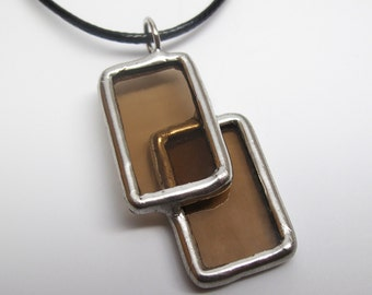 Tinted View - Stained Glass Pendant with Black Cord