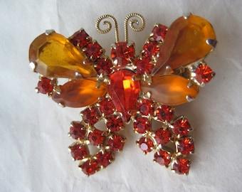 Butterfly Orange Rhinestone Brooch Gold Vintage Pin