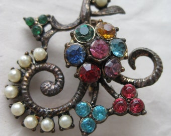 Flower Green Blue Pearl Bronze Brooch Rhinestone Vintage Pin