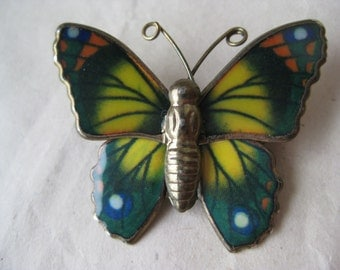Butterfly Brooch Gold Yellow Green Vintage Pin