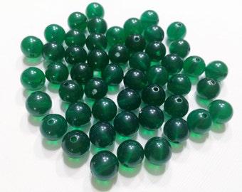 Vintage Lucite Emerald Green 8mm Round Translucent