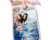 8 Gift Tags, Pink Blue Hummingbirds and Blossoms, Romantic Country Chic, Merchandise Tags, Party Favor Tags