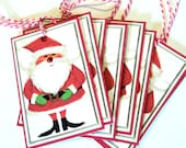 9 Christmas Santa Gift Tags, Faux Jewel Nose, Red White Green, Hang Tags