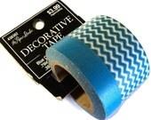 DESTASH SALE,  Blue Washi Tape, 20 Yards, Turquoise Blue Plain and Zig Zag, Scrap Booking, Card Making, Craft Tape