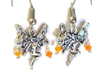 Sweet Little Silver and Topaz Crystal Fairy Earrings, Whimsical Earrings,  Gift for Her