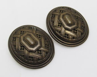 Vintage Earrings Huge Oval M Baer Jewelry E4175