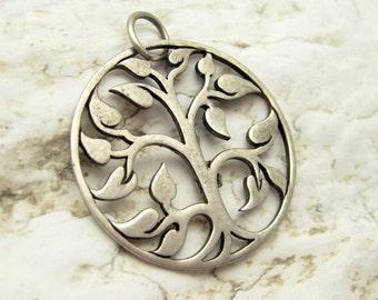 Vintage Sterling Tree Pendant Leaf Jewelry C7041
