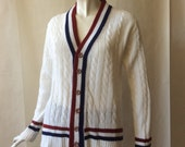 Vintage 1970's tennis cardigan, white cable knit with navy and maroon striped ribbing, unisex men's medium / women's large