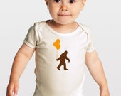 Sasquatch and Balloons -- Screenprinted Organic Baby One-Piece